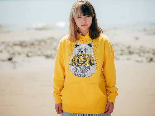 Yellow Bear Hoodie Silk Screen Printed 'Bear with Sunflowers' Illustrated Hoodie
