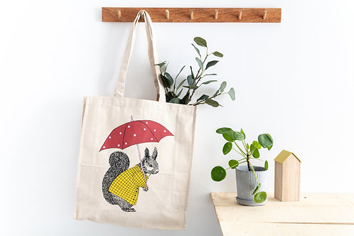 Rainy Day Squirrel Shopping Bag