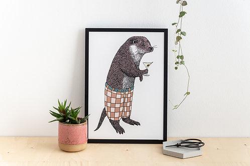 Mr Otter Loves Martini Print