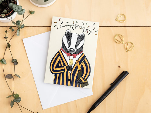 Champagne For Everyone! Badger Card