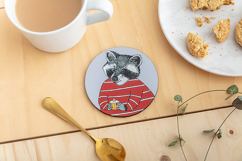 Cake Loving Raccoon Coaster