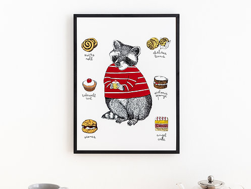 Raccoon Loves Cakes Print