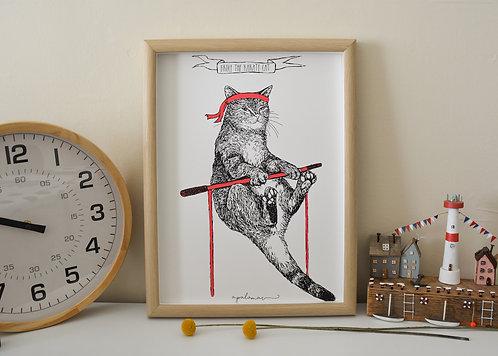 'Bruce The Karate Cat'Print