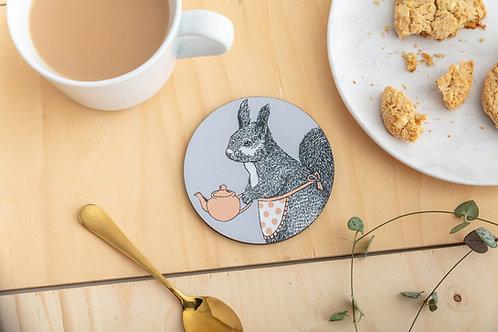 Tea Time Squirrel Coaster
