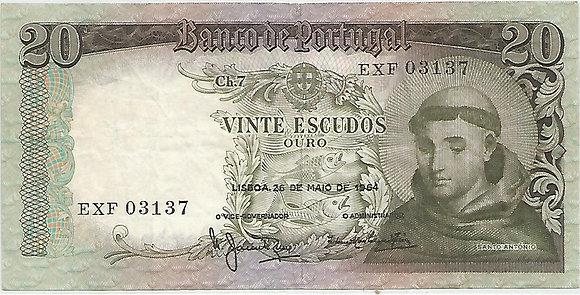 Portugal PTBN20.031.3137 20 Escudos 1964