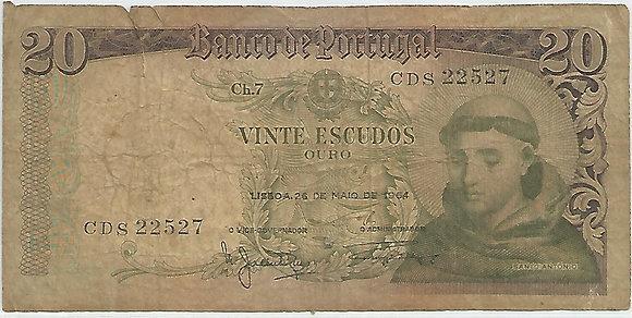 Portugal PTBN20.001.2527 20 Escudos 1964