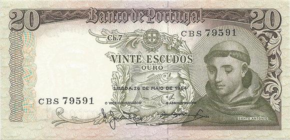 Portugal PTBN20.006.9591 20 Escudos 1964