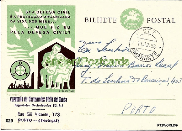 Bilhete Postal PT029/56 - Defesa Civil