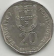 Portugal PT02021988 20 Escudos 1988