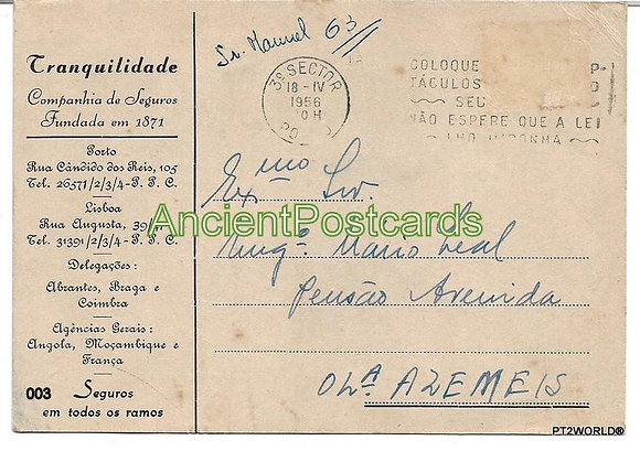 Bilhete Postal PT003/56 -Tranquilidade Companhia de Seguros