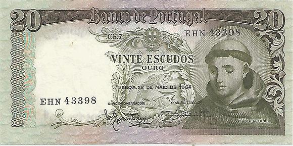 Portugal PTBN20.029.3398 20 Escudos 1964