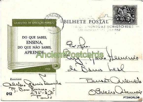 Bilhete Postal PT012/56 - Campanha de Educação Popular