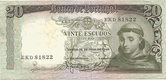 Portugal PTBN20.010.1822 20 Escudos 1964