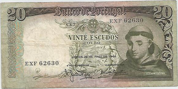 Portugal PTBN20.039.2630 20 Escudos 1964
