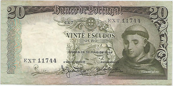 Portugal PTBN20.038.1744 20 Escudos 1964
