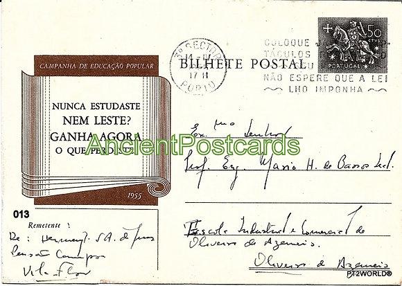 Bilhete Postal PT013/56 - Campanha de Educação Popular