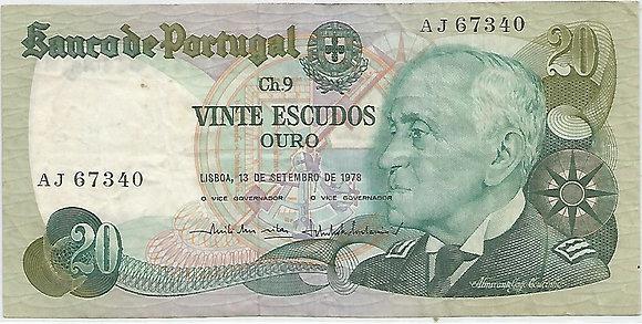 Portugal PTBN20.063.7340 20 Escudos 1978
