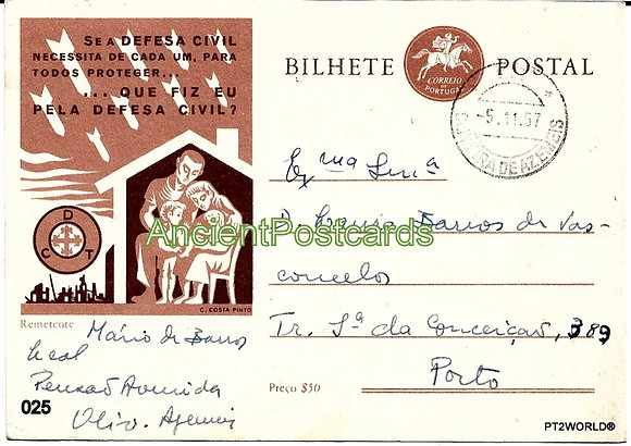 Bilhete Postal PT025/57 - Defesa Civil
