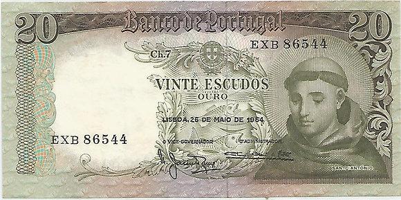 Portugal PTBN20.034.6544 20 Escudos 1964