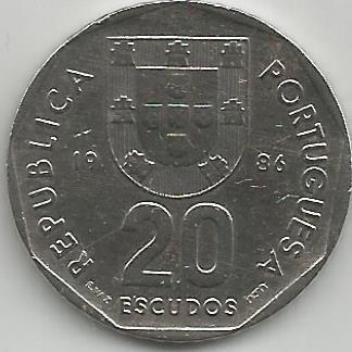 Portugal PT02001986 20 Escudos 1986