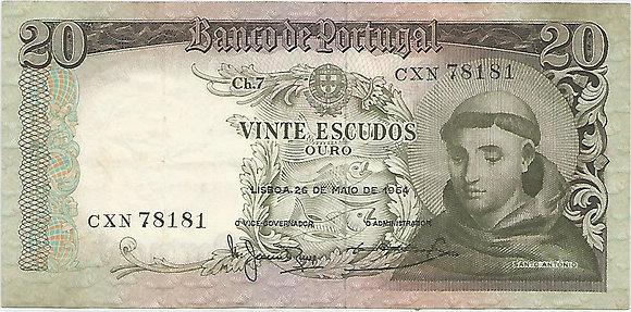 Portugal PTBN20.030.8181 20 Escudos 1964