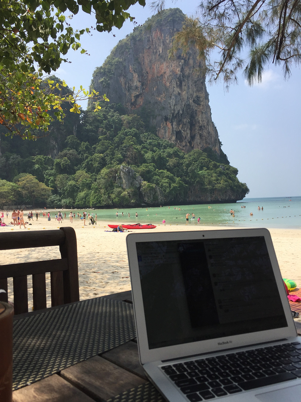Working remotely from the beach in Krabi, Thailand