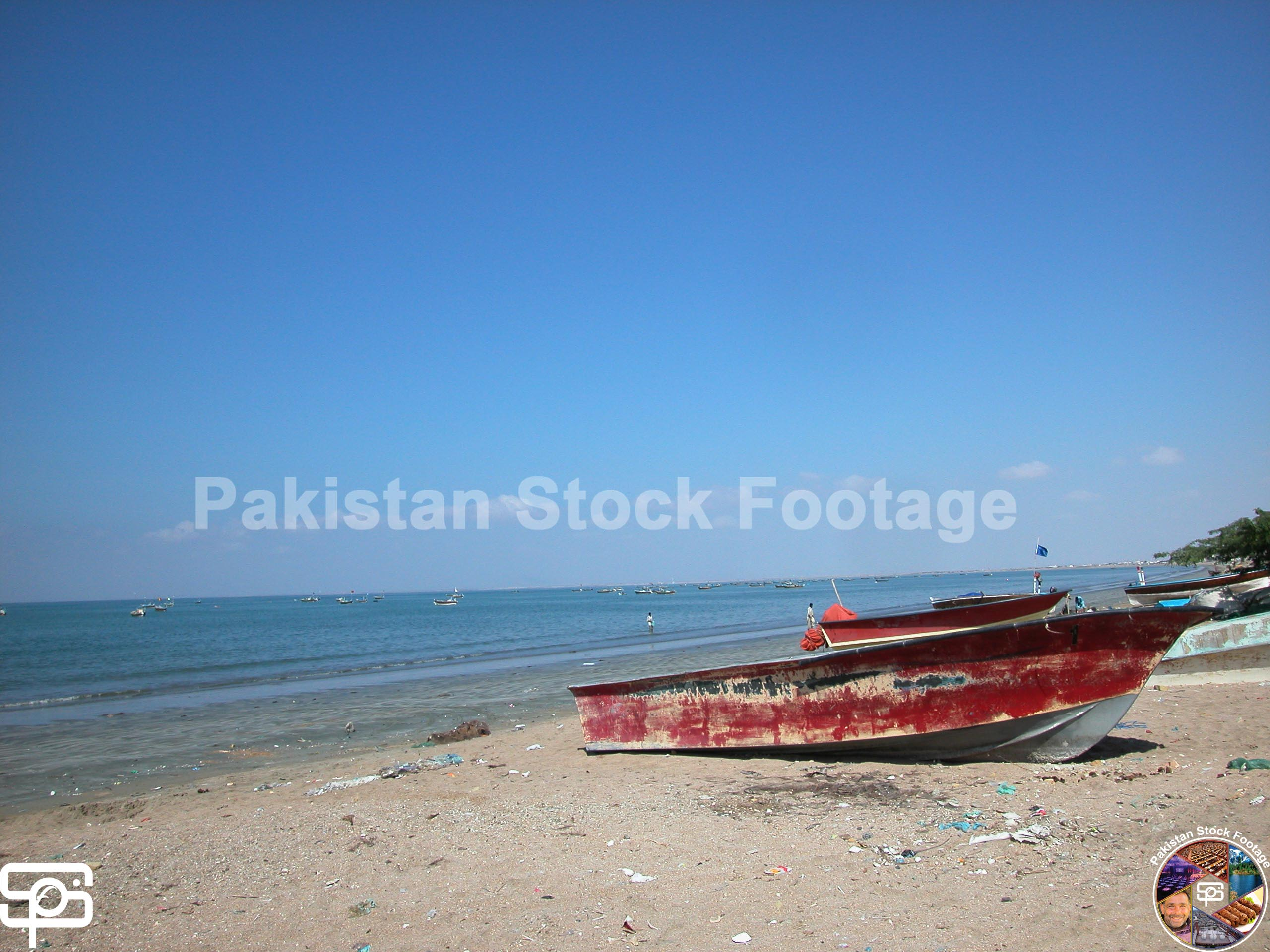 Red Boats at Gwadar Beach