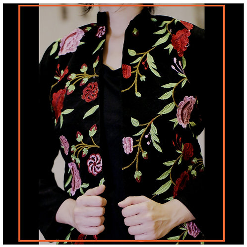 Stylish Vintage Ladies velvet Jacket with threadwork