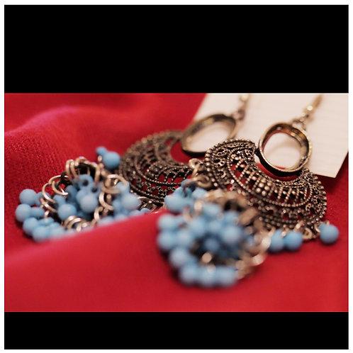 Blue silver Afghan tribal earrings