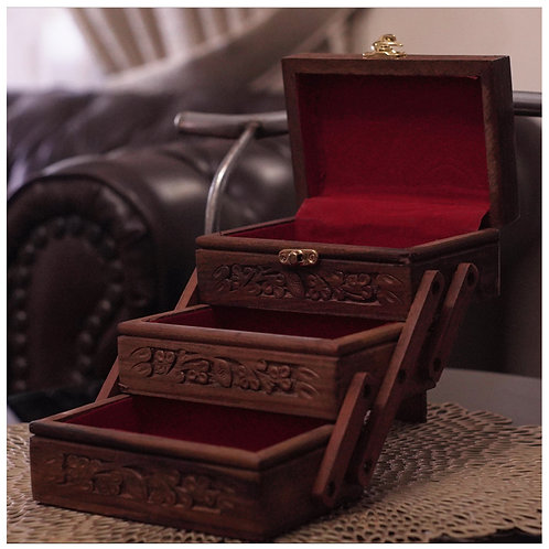 Hand Carved three stage wooden Jewelry box