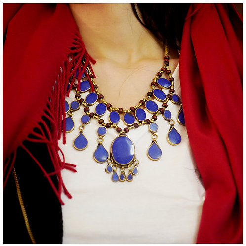 Handmade Tribal Afghan Lapis Necklace