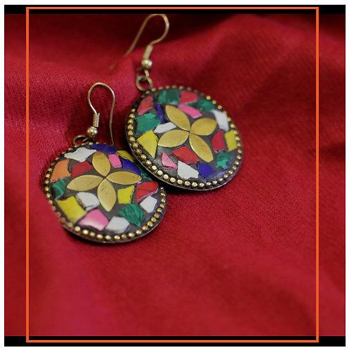 Multicolored handmade embellished earrings