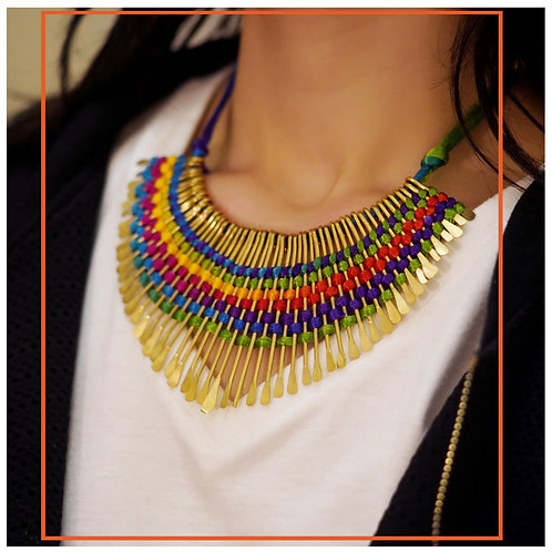 Handmade Tribal Threadwork & Bohemian Spikes Necklace