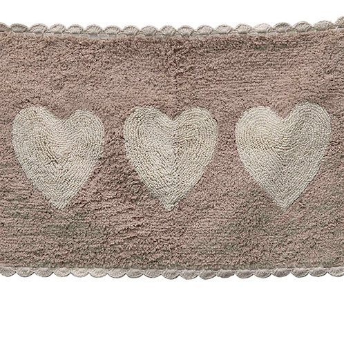 "30""L x 20""H Cotton Tufted Bath Mat w/ Hearts, Tan & Cream Color"