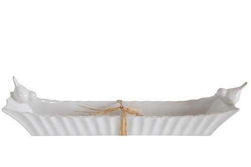 Ceramic Cracker Dish w/ 2 Birds, White