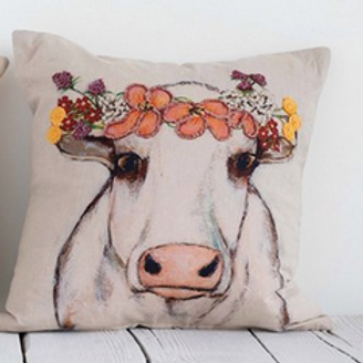 "18"" Square Woven Cotton Pillow w/ Cow, Embroidery & Floral Crown"
