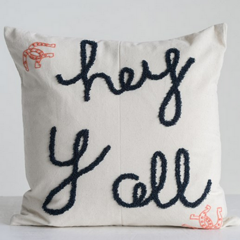 "Embroidered Pillow ""Hey Yall"""