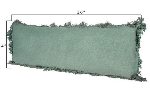 Cotton Pillow w/ Fringe, Green