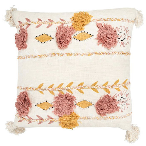Cotton Embroidered Pillow w/ Tassels & Applique, Cream Color