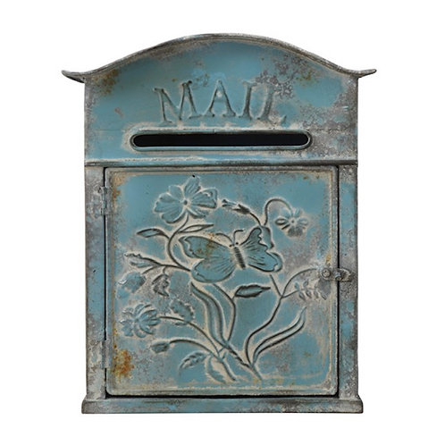 "Embossed Tin ""Mail"" Box, Distressed Blue"