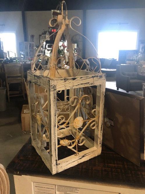 White Metal & Wood Lantern