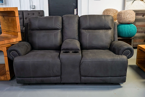 Gray Double Reclining Loveseat with Console