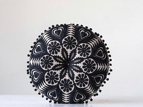 Embroidered Pillow w/ Pom Pom Trim, Black