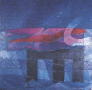 A painting by Fernando de Szyszlo. Its primary color scheme is dark blues, with stripes of magenta, red, and puce over a structure resembling a giant table with three legs.