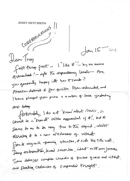 Letter from John Hitchens to composer Peter Dayton