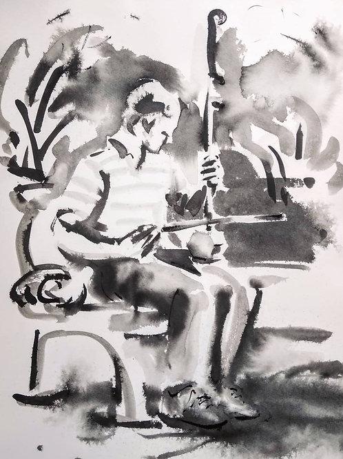 Peter Playing an Erhu