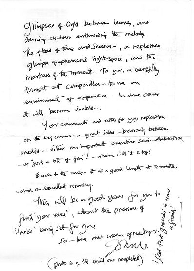 John Hitchens letter to composer Peter Dayton