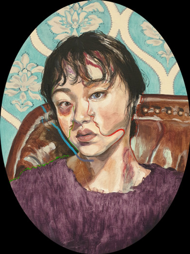 🔴 Self-Portrait oil on canvas 40cm x 30cm (oval)