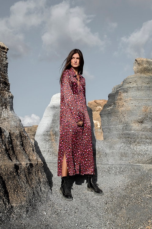 LEOPARD LONG DRESS FUCHSIA/BLACK