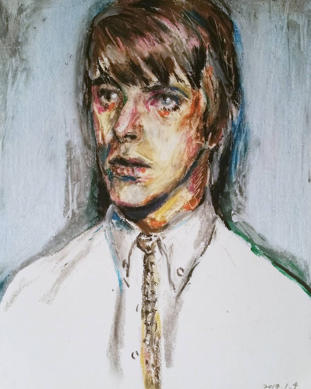 David Bowie oil pastel on paper